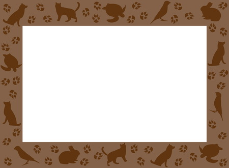 Picture frames silhouettes pets Ilustracja