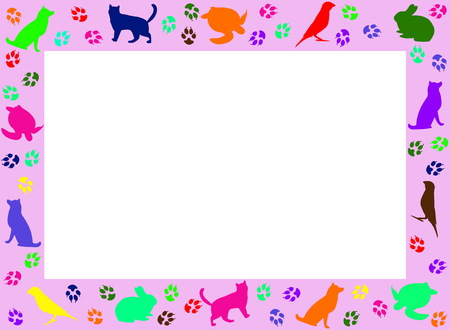 Photoframe from silhouettes of pets. Frame design for pets Illustration