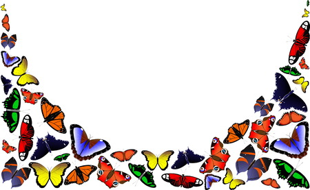 Frame of flying colorful butterflies on a white background. Postcard for congratulations on the anniversary