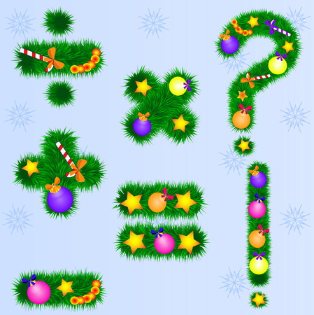 Numbers of fir branches with New Year`s toys. Set of New Year fonts Ilustracja