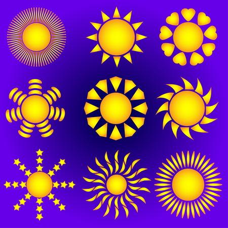 Sun. Vector sun set. The sun on a violet background