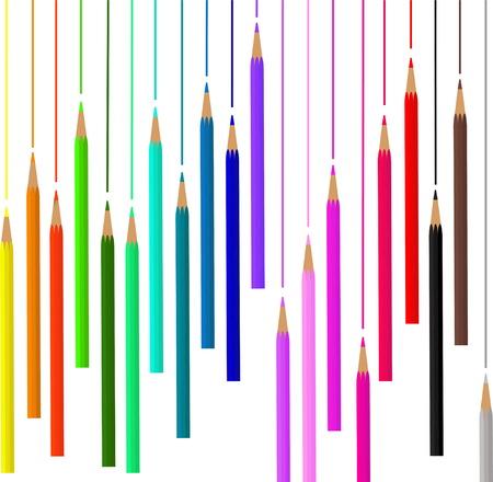 Colored pencils for school. Design box of pencils Illustration