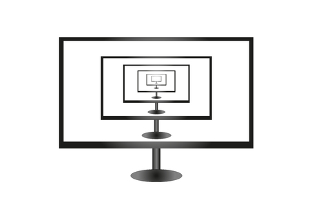 The TV on a white background. Set of TVs.