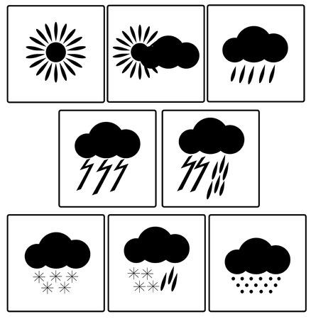 Weather forecast.Meteorological forecast.Icons for a weather forecast Ilustracja
