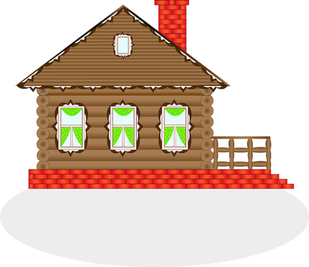 Village house made of wood on a white background.Illustration with isolated object