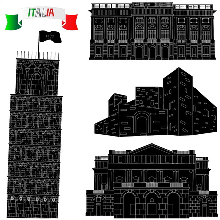 Architectural monuments of Italy on a white background. Black silhouettes of sights Ilustracja