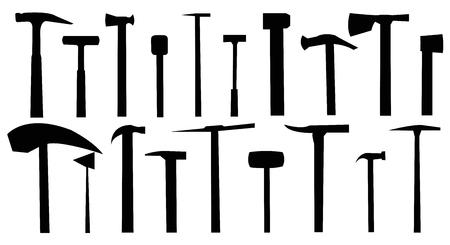 Hammers.A set of hammers on a white background