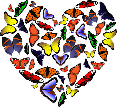 Heart from butterflies by St. Valentine`s Day