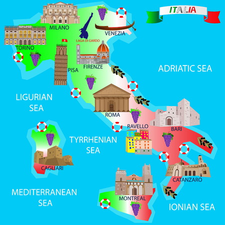 Map of Italy for tourists. Architectural monuments