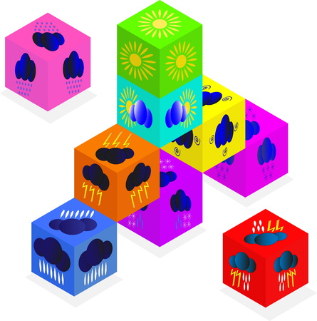Weather forecast icons on dice. Isolated objects on a white background Illustration