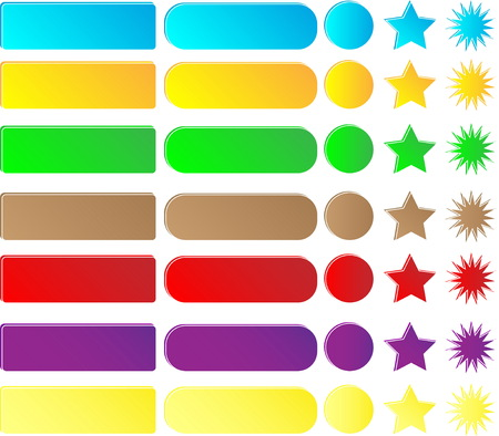 A collection of buttons and icons for the site. A set of multi-colored buttons on a white background.