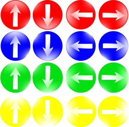 Round buttons with arrows for an internet site. A collection of colorful buttons Ilustracja