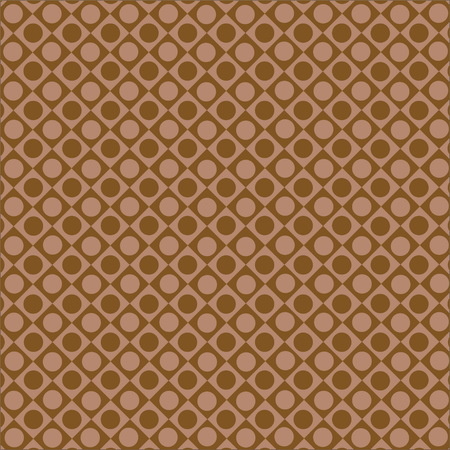 Pattern of rhombuses and circles on a brown background.