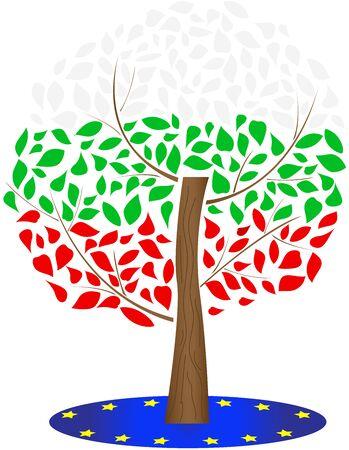 Flag of Bulgaria and the European Union. Illustration of the Bulgarian flag. Ilustracja