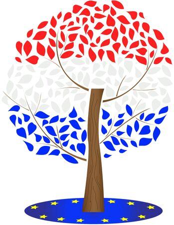 Flag of Croatia and European Union. Illustration of the Croatian flag.