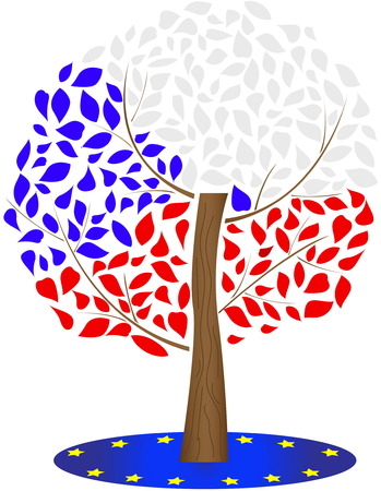 Czech and European Union flag.Illustration of the Czech flag. Ilustracja