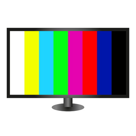 Television set with a grid on a white background. Illustration of the TV.
