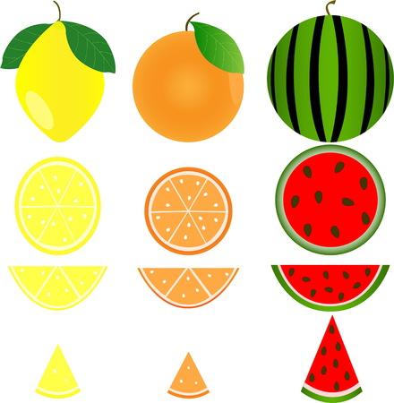 Fruit set of orange, lemon and watermelon on a white background. Isolated fruit pattern. Ilustracja