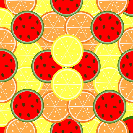 Fruit seamless pattern. Picture of oranges, lemons and watermelon Ilustracja