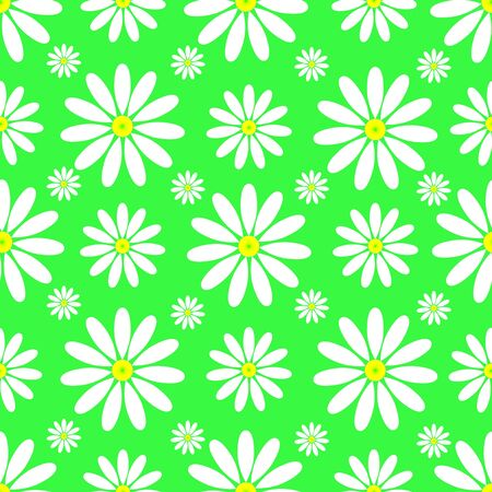 Seamless pattern of daisies on a green Ilustracja