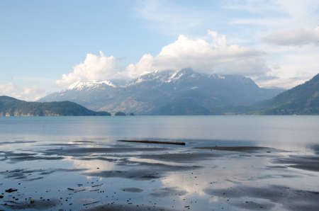 mud and snow: Low tide and low clouds near Harrison hot springs
