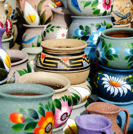 Variety of colorful ceramic pots in Old Village, San Diego photo