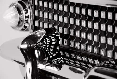 Classic car chrome grill in black and white photo