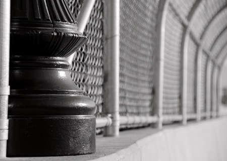 alloy: Cast iron pole and alloy mesh  on a bridge in Tacoma