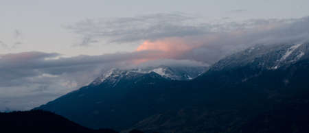 ranges: Sunset in Lillooet Ranges, near Harrison lake