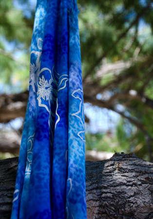 ironwood: Blue sarong hanging from an ironwood tree near Puako bay