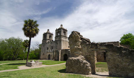 front entry: Approaching front entry of Mission Concepcion, San Antonio