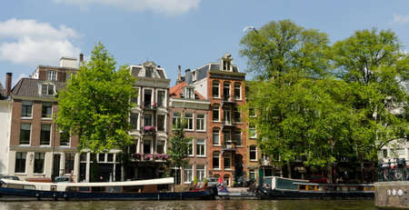 Colrful canal side in Amsterdam