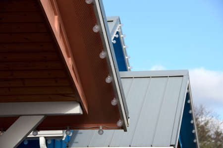joist: Colorful cabin roofs   with decoration lights in Ocean Shores Stock Photo