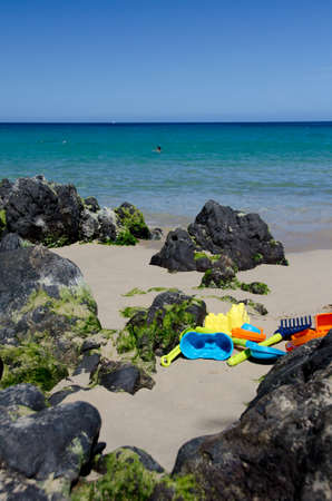 big island: Forgotten plastic toys at Puako Beach, Waialea, Big Island
