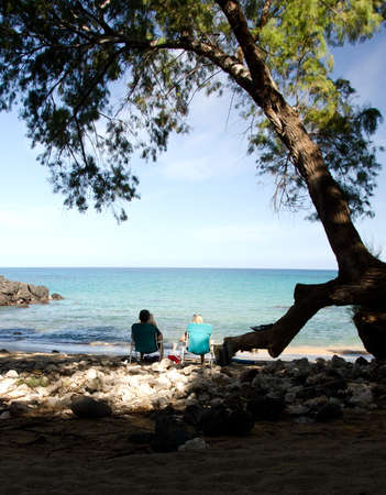 breakaway: A couple in beach chairs enjoying shadows of Beach 69, Waialea, Big Island
