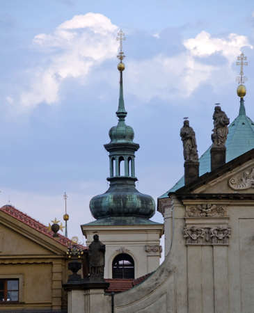spires: Spires and details of roof decorations of Havel Church, Prague Stock Photo