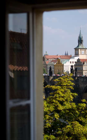 apartment tower old town: Watching crowds on Charles bridge, from a  vacation rental apartment in Mala Strana, Prague