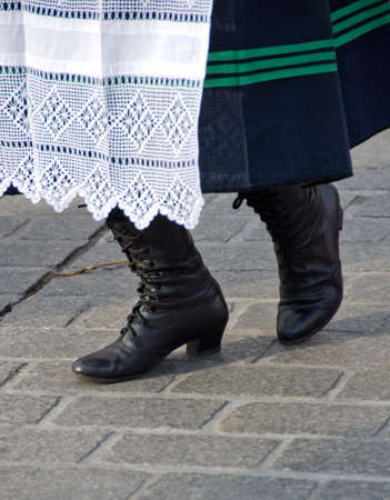 square dancing: Legs of a female dancer at Main Square during national culture festival, Krakow Stock Photo