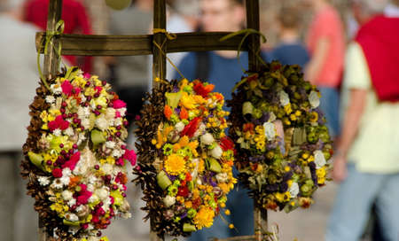 main market: Decorative wreaths at farmer market at Main Market Square, Krakow, Poland