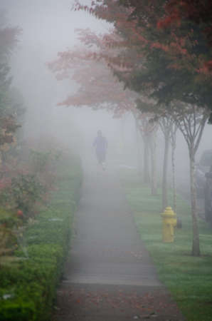 suburbs: Female runner on a foggy route in Redmond, Seattle suburbs
