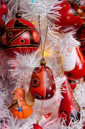 tradition: Variety of red Christmas tree decorations in Old town, San Diego Stock Photo