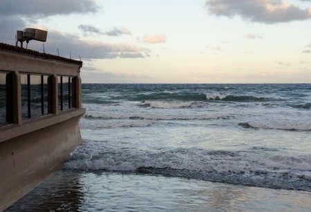 high tide: High tide at a beach resort in Southern California.