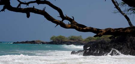breakaway: Long wave approaches rocks of beach 69 -4, Big Island, Hawaii