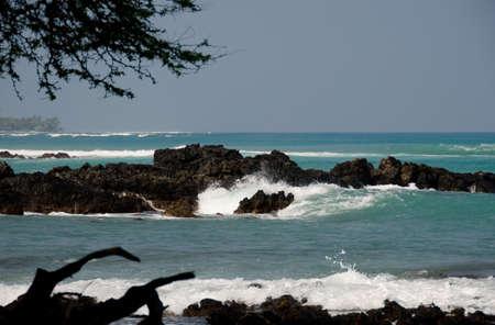 breakaway: Surf and rock layers at beach 69 -4, Big Island, Hawaii