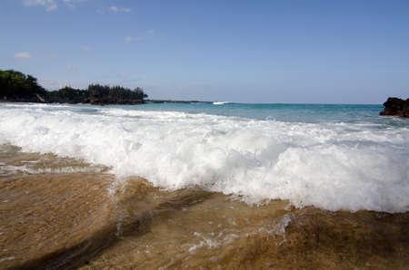breakaway: Foamy surf in a morning at beach 69, Big Island, Hawaii