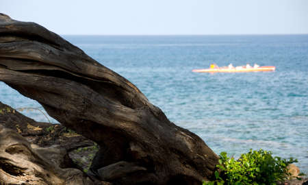 outrigger: Orange outrigger in waters near the north end of Kaunaoa beach