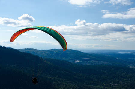 cougar: Paragliding near Tiger Mountain State forest, flying towards Cougar Mountain Stock Photo