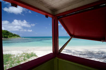 shack: Colorful shack on beautiful Cocobay beach on beautiful Cocobay beach,  Antigua and Barbuda Stock Photo