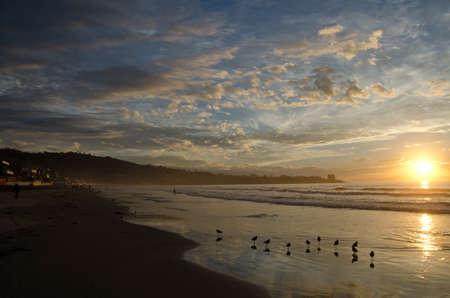 Warm colors of Californian sunset in La Jolla Bay, near Sun Diego