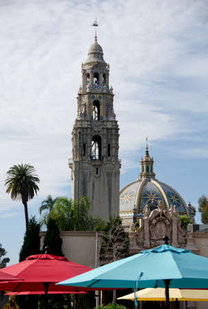California bell tower and dome at the entrance of Balboa park, San Diego